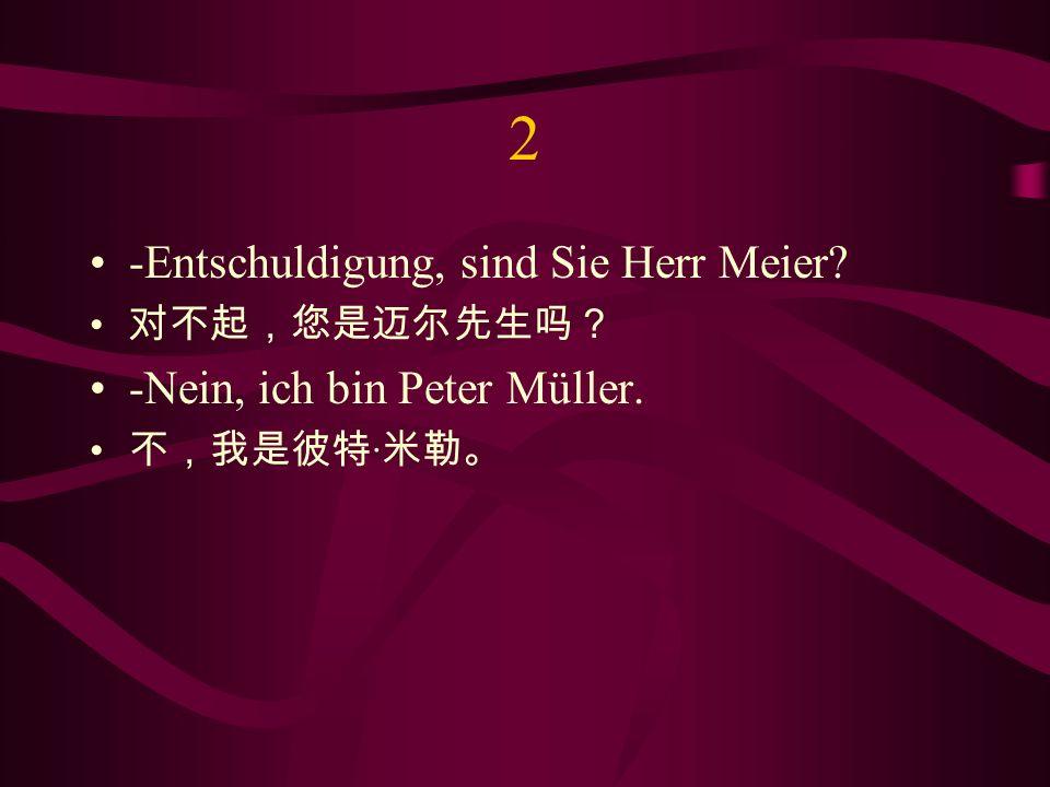 2 -Entschuldigung, sind Sie Herr Meier -Nein, ich bin Peter Müller.