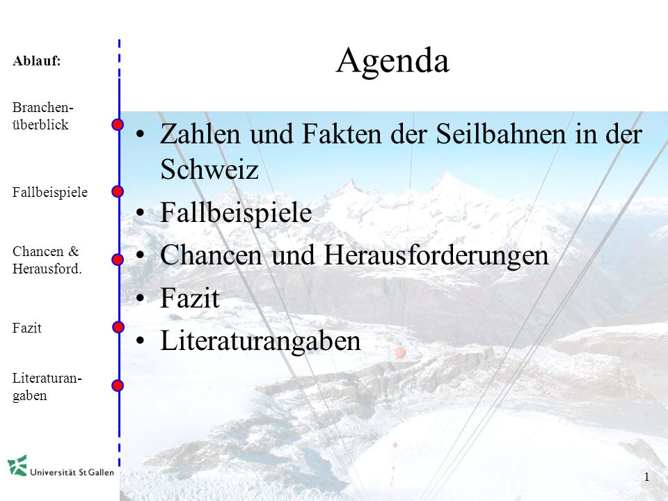 Agenda Zahlen und Fakten der Seilbahnen in der Schweiz Fallbeispiele