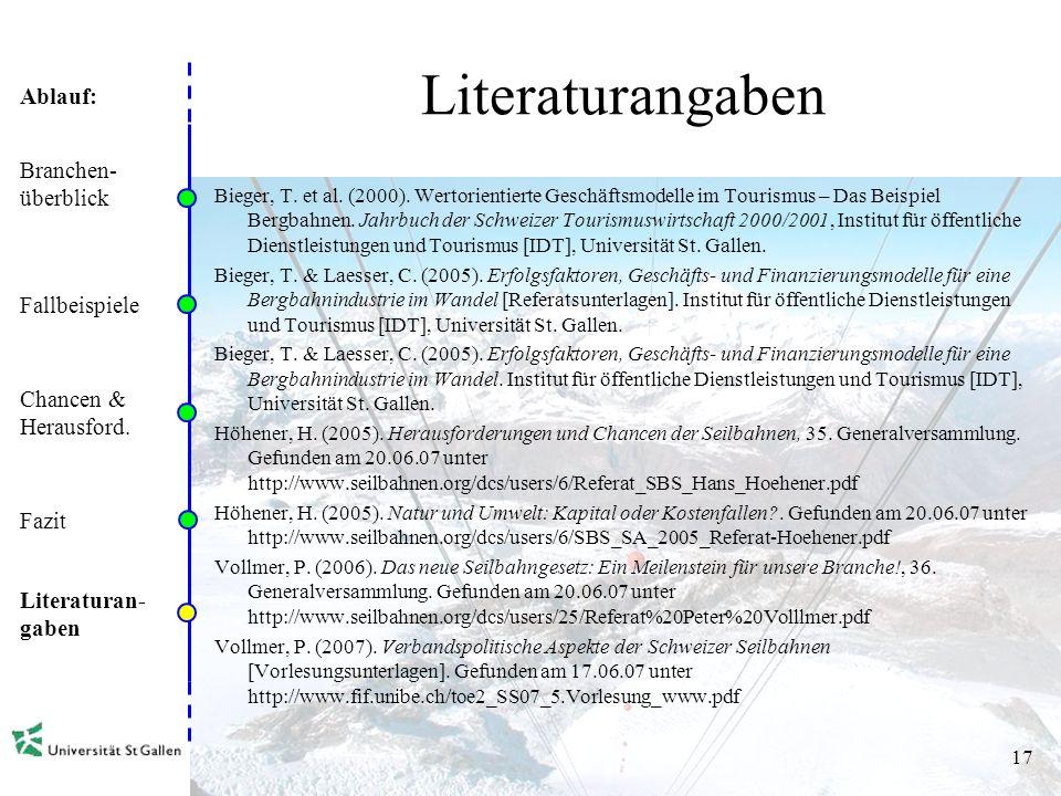 Literaturangaben Branchen- überblick Fallbeispiele