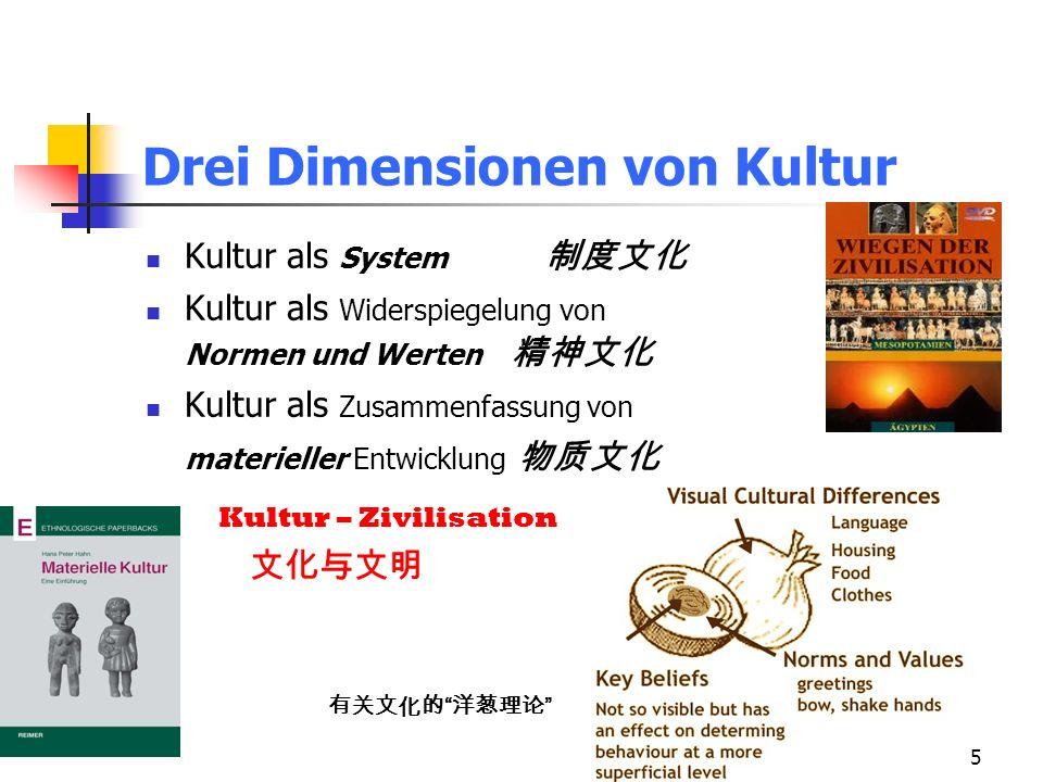Drei Dimensionen von Kultur
