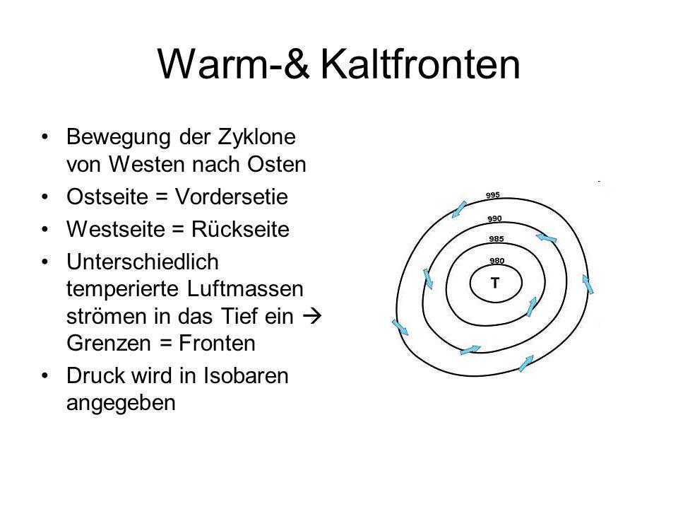 Warm-& Kaltfronten Bewegung der Zyklone von Westen nach Osten