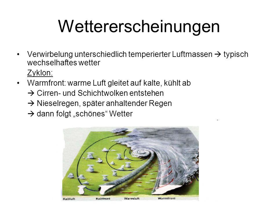 Wettererscheinungen Verwirbelung unterschiedlich temperierter Luftmassen  typisch wechselhaftes wetter.