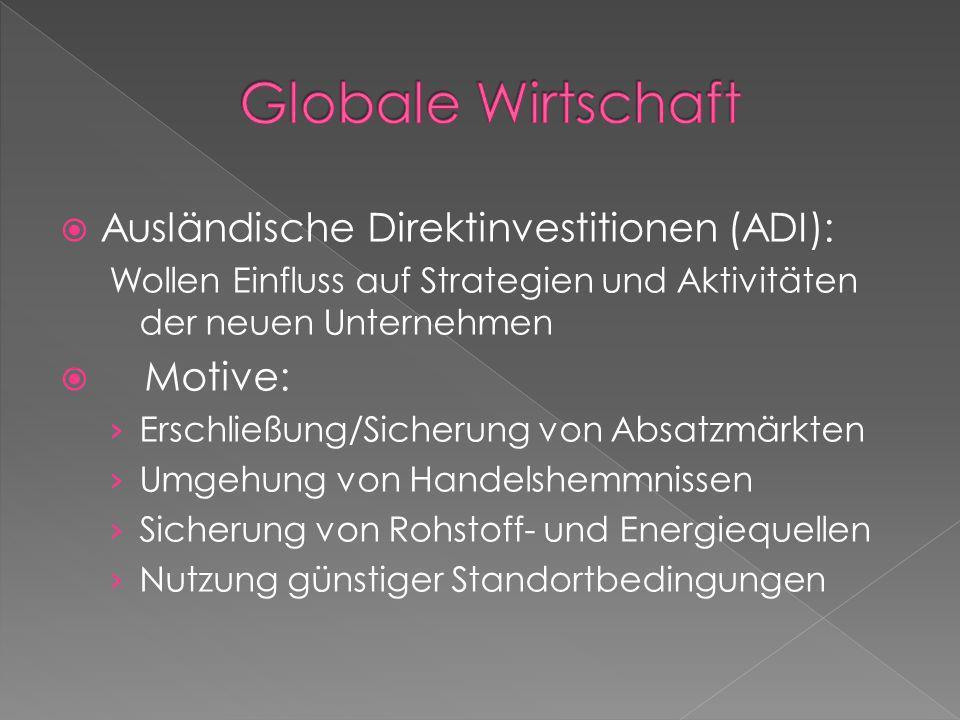 Globale Wirtschaft Ausländische Direktinvestitionen (ADI): Motive: