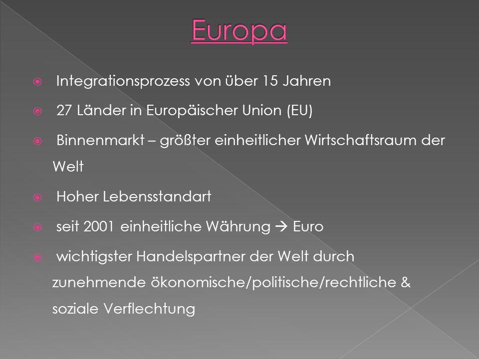 Europa Integrationsprozess von über 15 Jahren