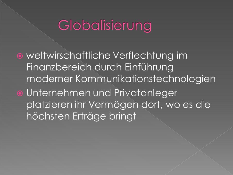 Globalisierung weltwirschaftliche Verflechtung im Finanzbereich durch Einführung moderner Kommunikationstechnologien.