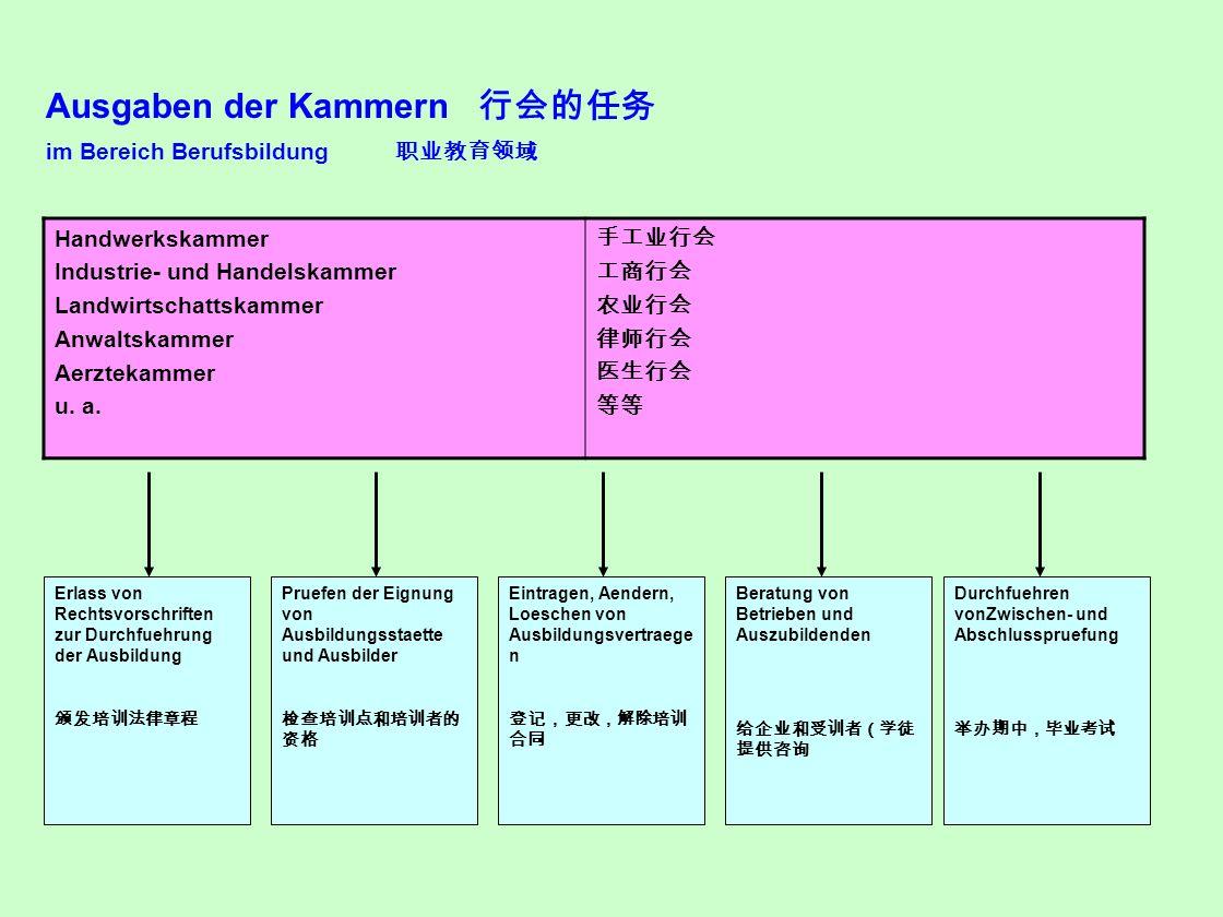 Ausgaben der Kammern 行会的任务 im Bereich Berufsbildung 职业教育领域