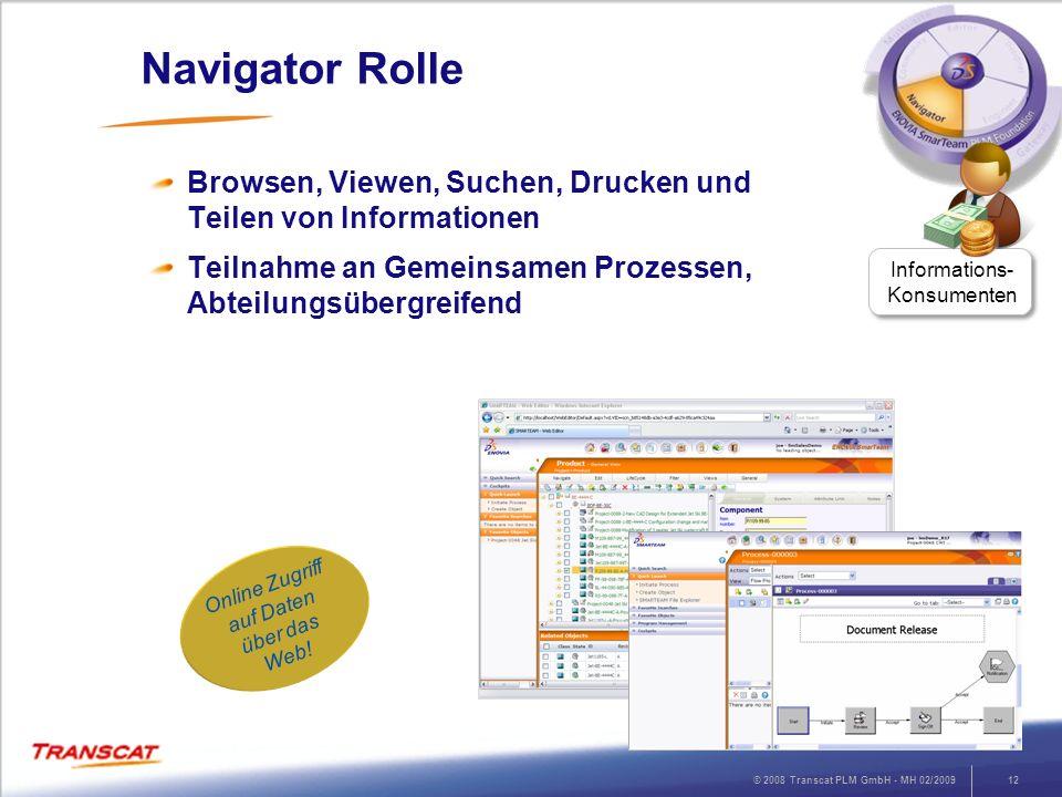 Navigator RolleBrowsen, Viewen, Suchen, Drucken und Teilen von Informationen. Teilnahme an Gemeinsamen Prozessen, Abteilungsübergreifend.