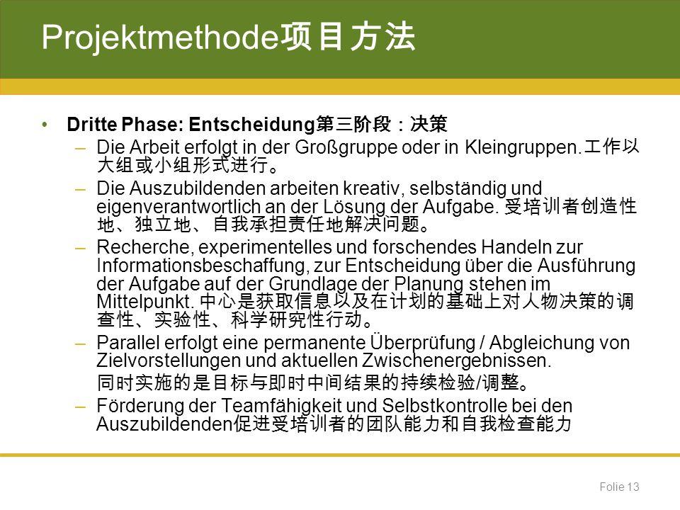 Projektmethode项目方法 Dritte Phase: Entscheidung第三阶段:决策
