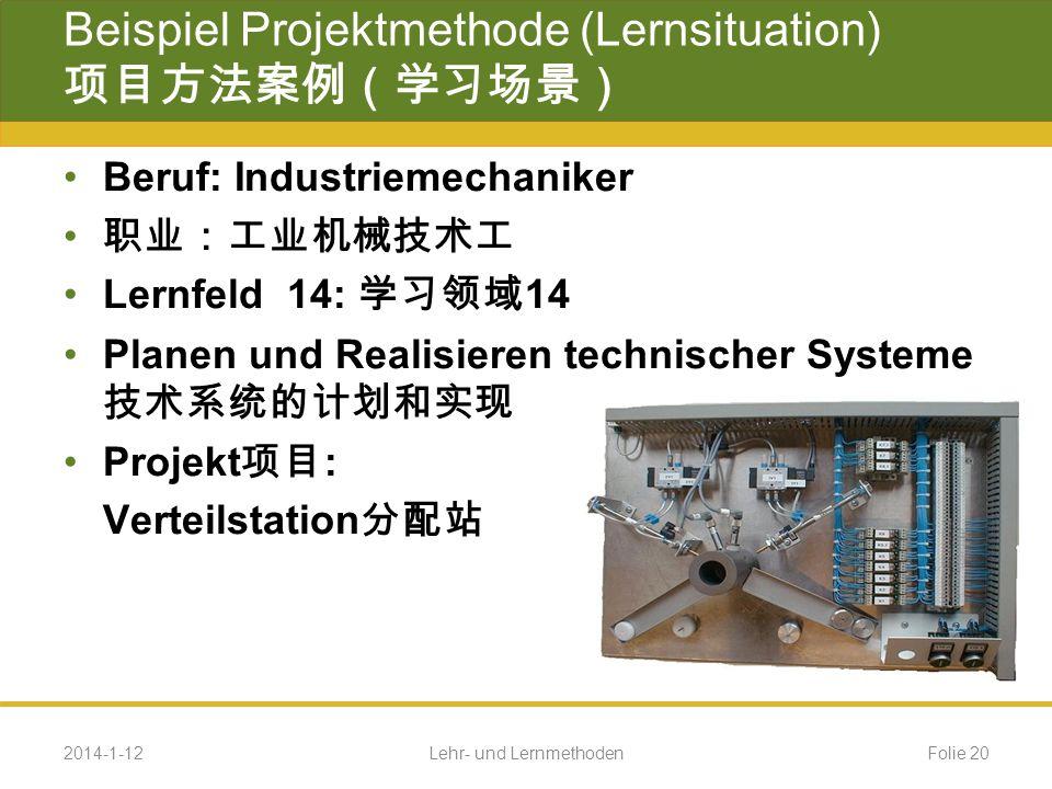 Beispiel Projektmethode (Lernsituation) 项目方法案例(学习场景)