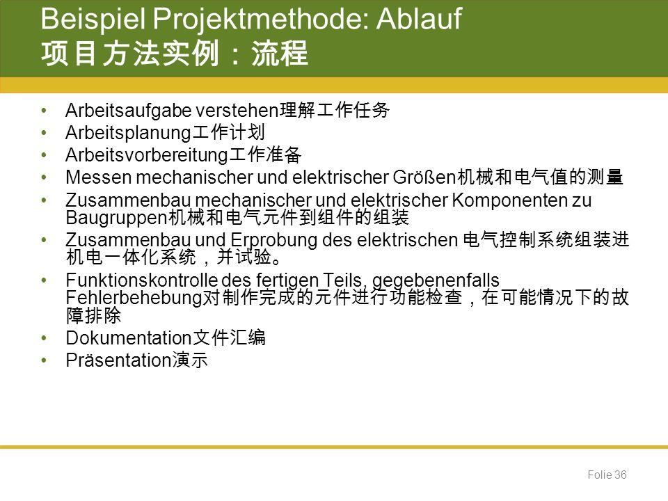 Beispiel Projektmethode: Ablauf 项目方法实例:流程