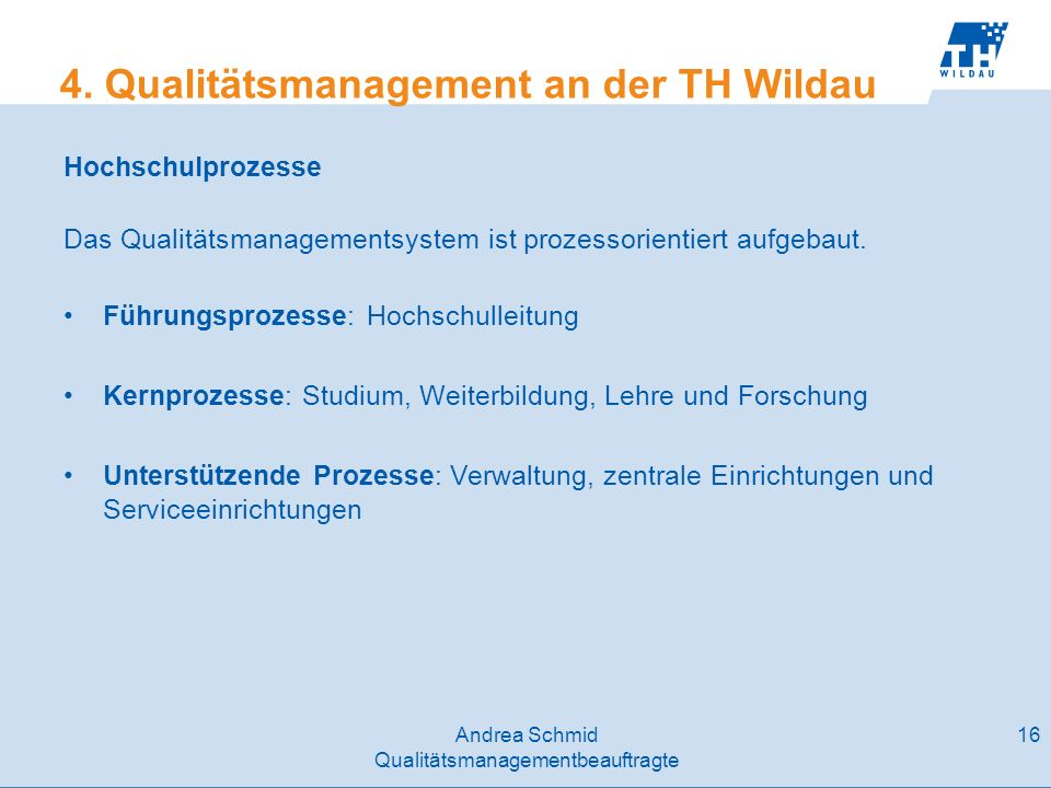 4. Qualitätsmanagement an der TH Wildau