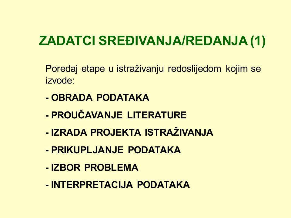 ZADATCI SREĐIVANJA/REDANJA (1)