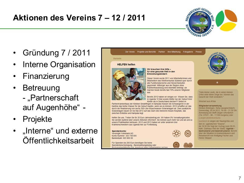 Aktionen des Vereins 7 – 12 / 2011
