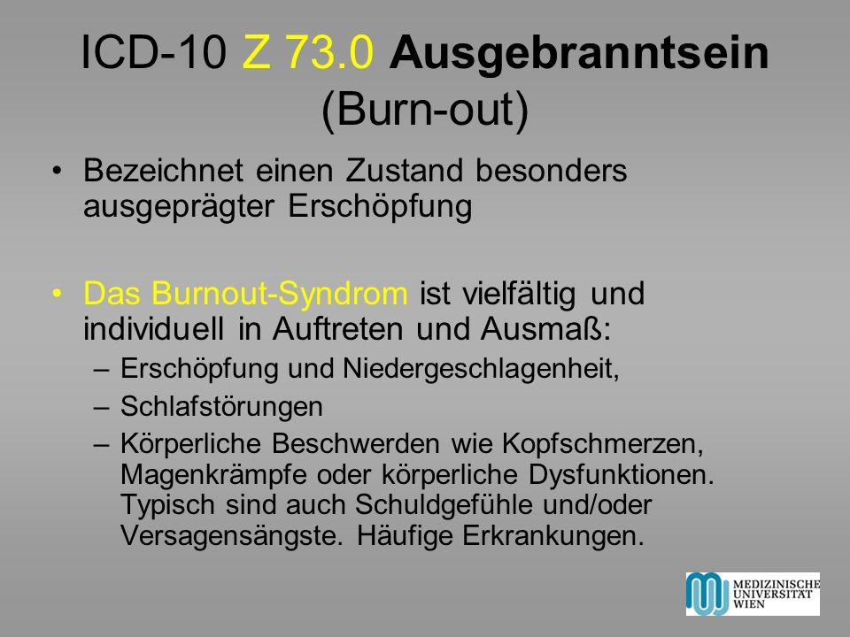 ICD-10 Z 73.0 Ausgebranntsein (Burn-out)