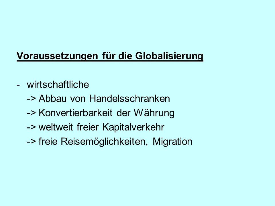 Voraussetzungen für die Globalisierung