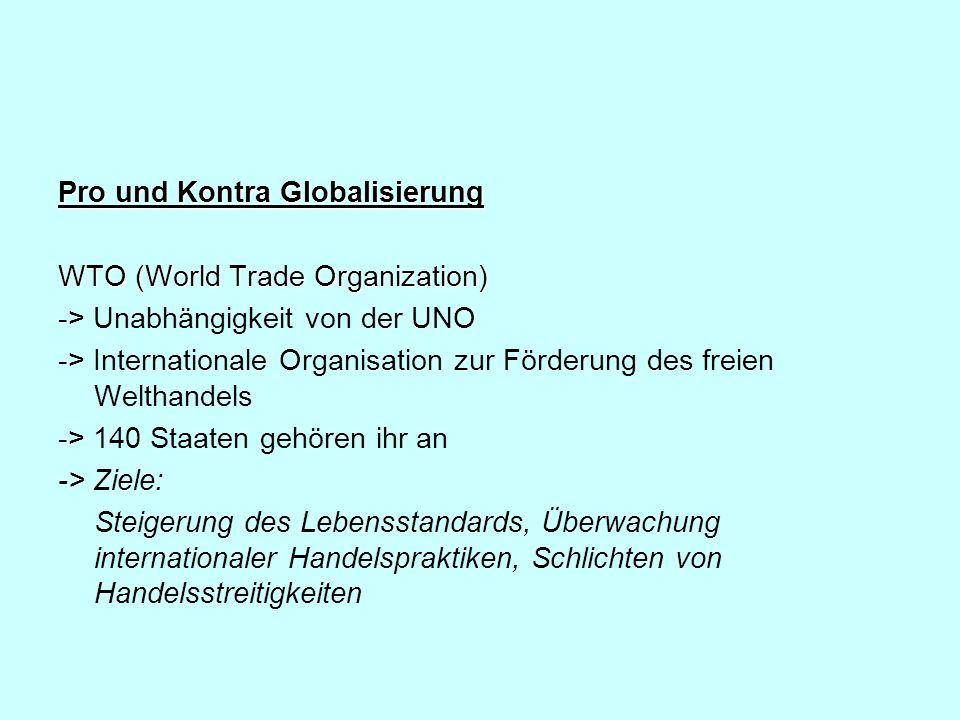 Pro und Kontra Globalisierung