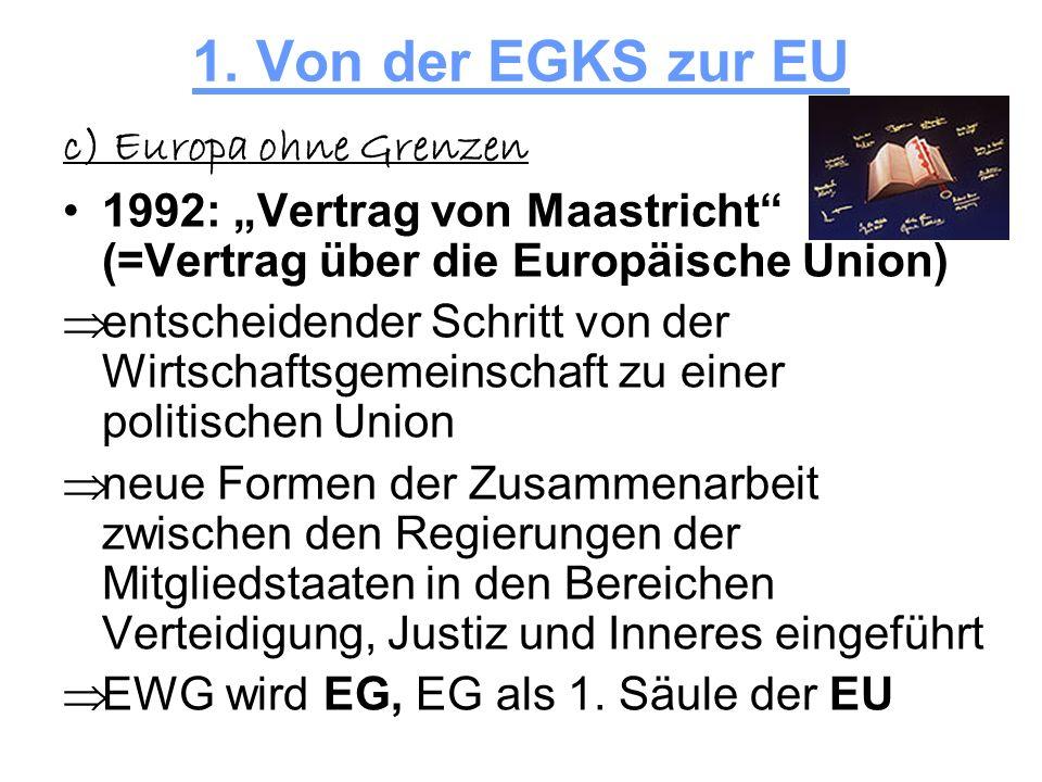 1. Von der EGKS zur EU c) Europa ohne Grenzen