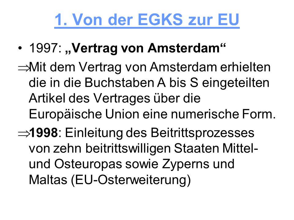 """1. Von der EGKS zur EU 1997: """"Vertrag von Amsterdam"""