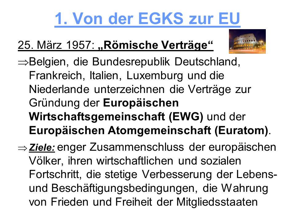 """1. Von der EGKS zur EU 25. März 1957: """"Römische Verträge"""