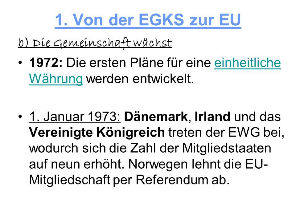 1. Von der EGKS zur EU b) Die Gemeinschaft wächst