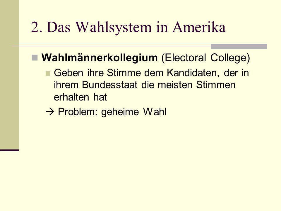 2. Das Wahlsystem in Amerika