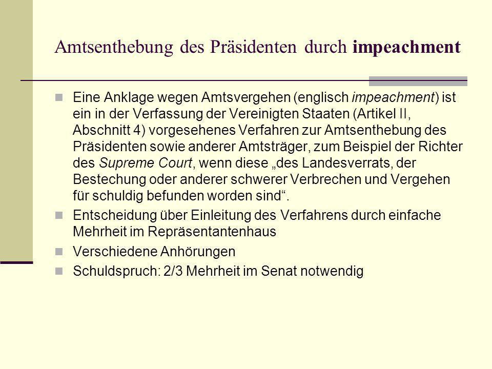Amtsenthebung des Präsidenten durch impeachment