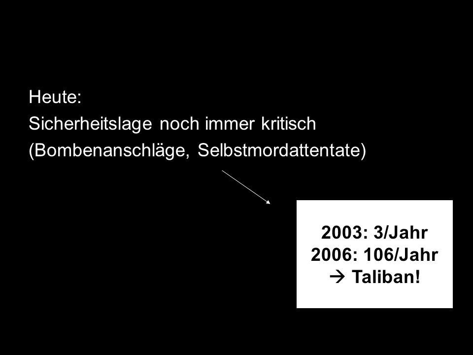 Heute: Sicherheitslage noch immer kritisch. (Bombenanschläge, Selbstmordattentate) 2003: 3/Jahr. 2006: 106/Jahr.