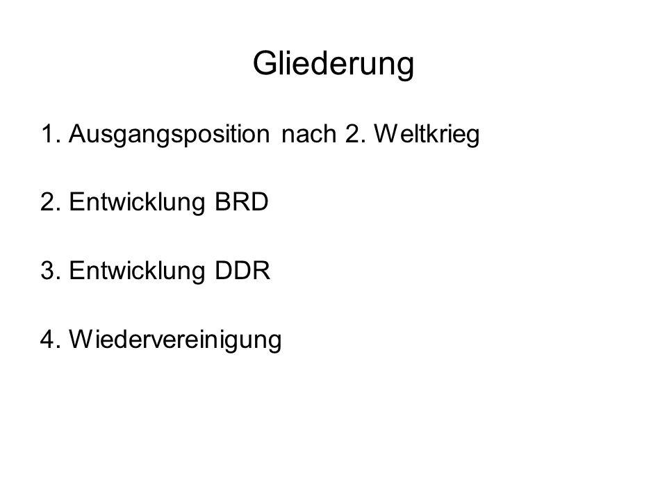 Gliederung 1. Ausgangsposition nach 2. Weltkrieg 2. Entwicklung BRD