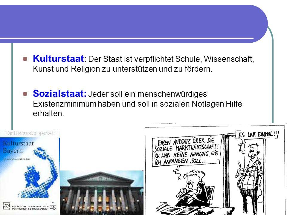 Kulturstaat: Der Staat ist verpflichtet Schule, Wissenschaft, Kunst und Religion zu unterstützen und zu fördern.
