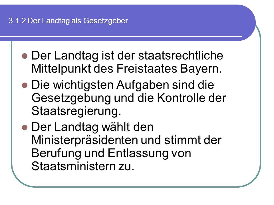3.1.2 Der Landtag als Gesetzgeber