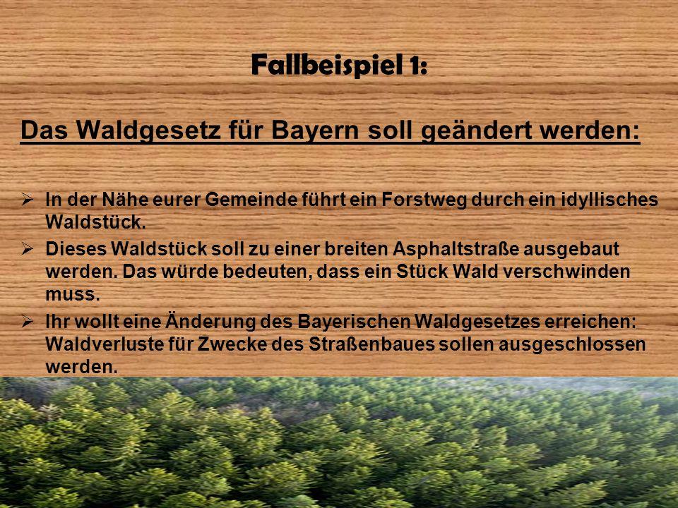 Fallbeispiel 1: Das Waldgesetz für Bayern soll geändert werden:
