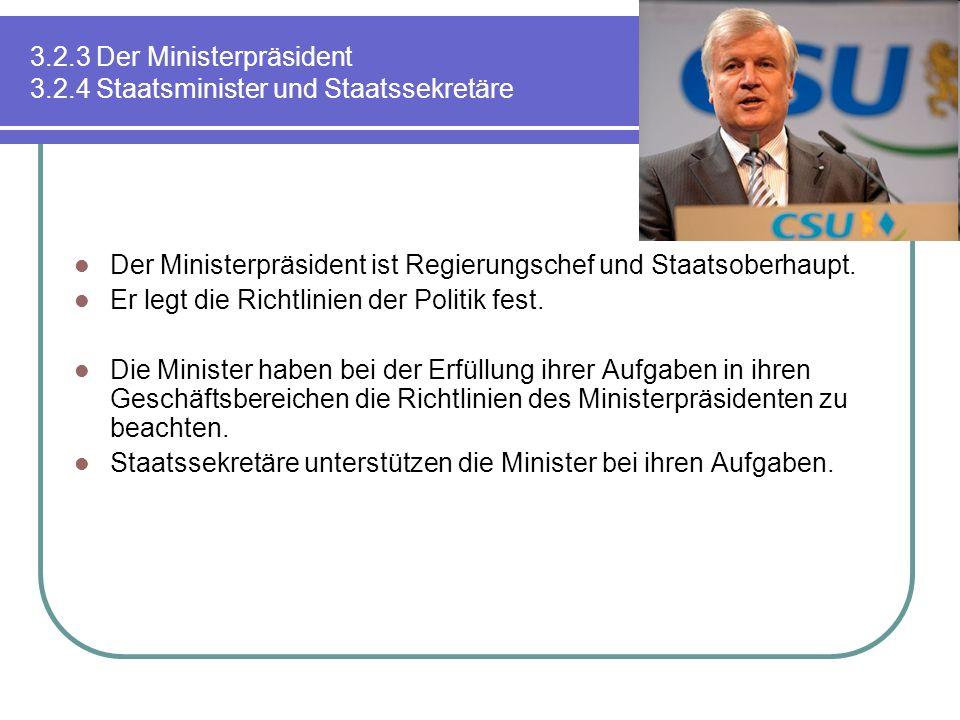 3.2.3 Der Ministerpräsident 3.2.4 Staatsminister und Staatssekretäre