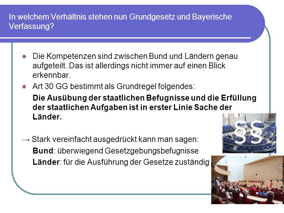 In welchem Verhältnis stehen nun Grundgesetz und Bayerische Verfassung