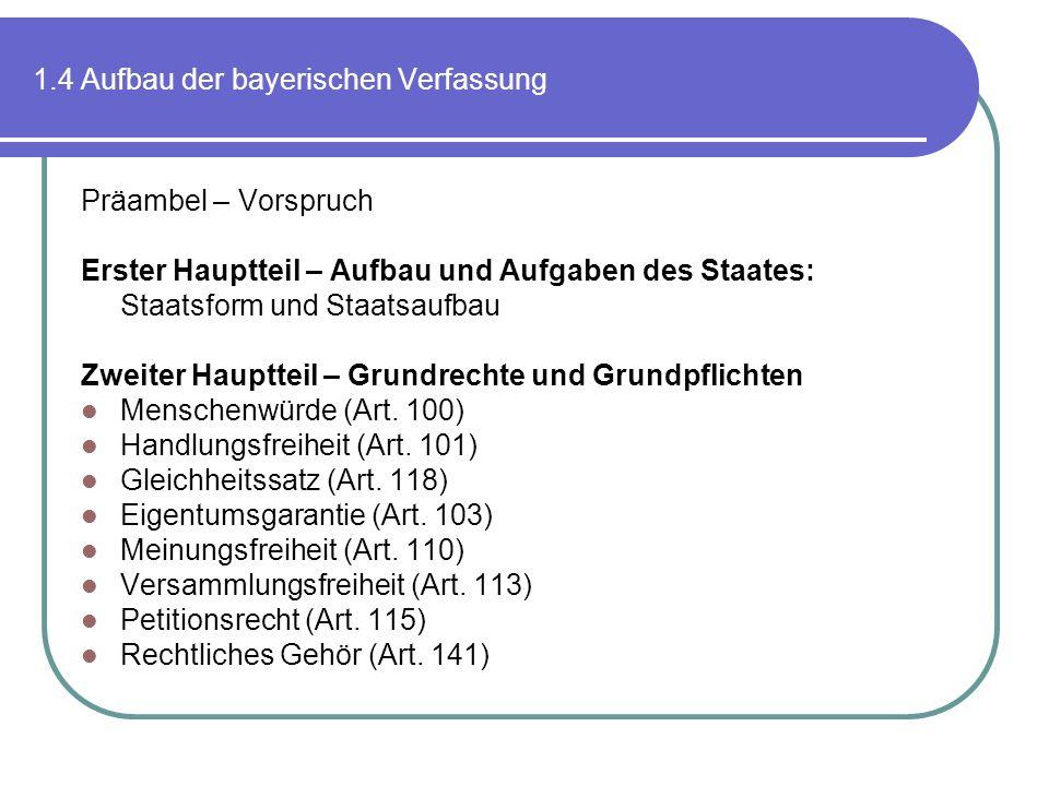 1.4 Aufbau der bayerischen Verfassung