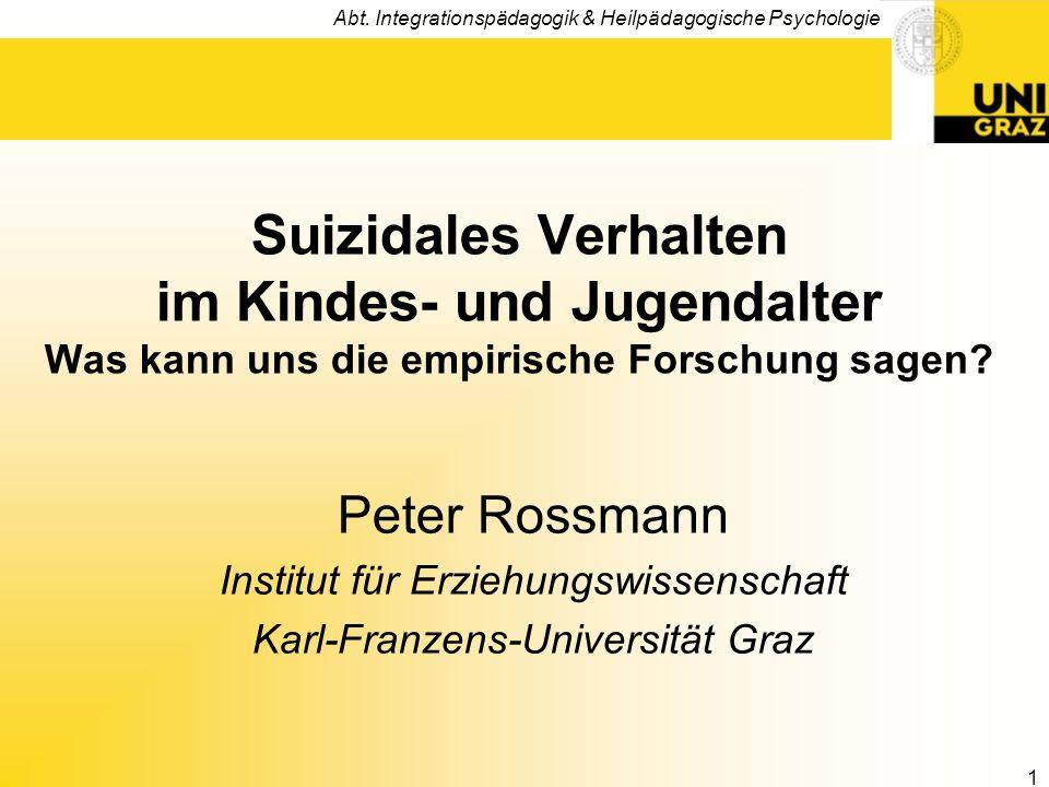Suizidales Verhalten im Kindes- und Jugendalter Was kann uns die empirische Forschung sagen