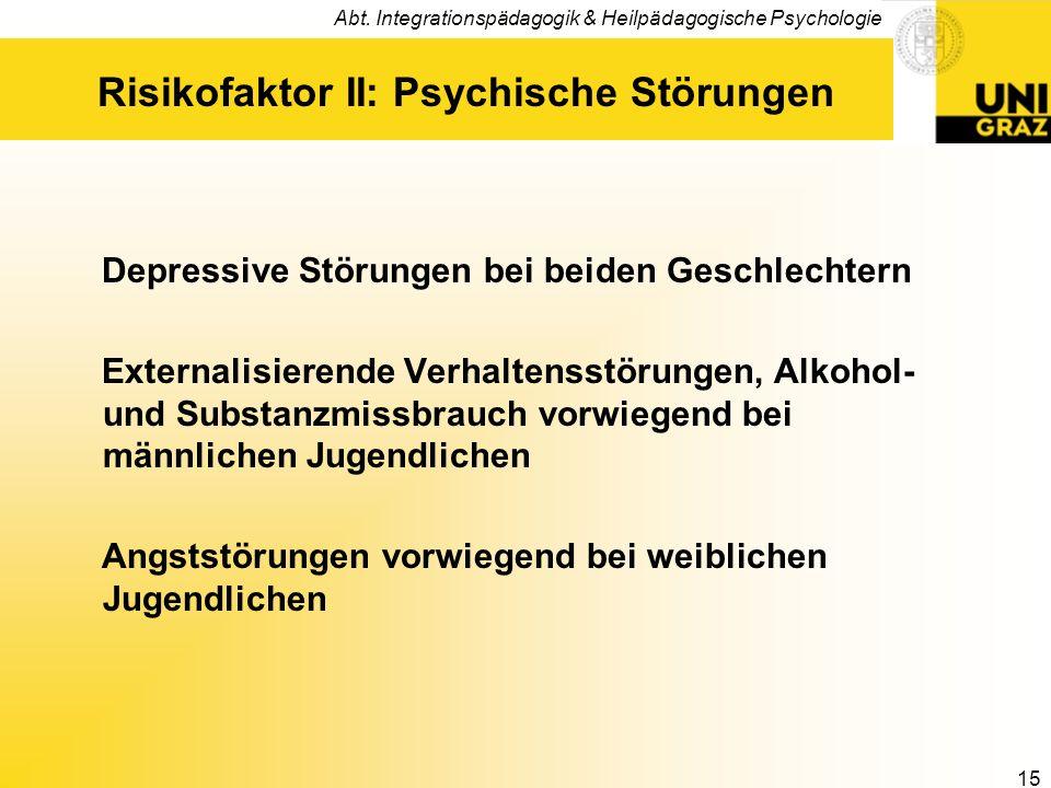 Risikofaktor II: Psychische Störungen
