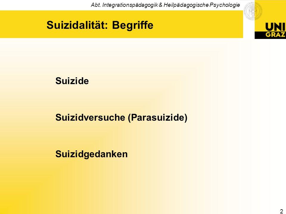Suizidalität: Begriffe