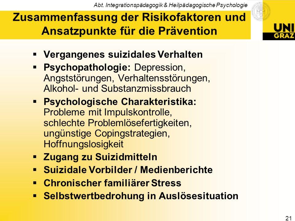 Zusammenfassung der Risikofaktoren und Ansatzpunkte für die Prävention