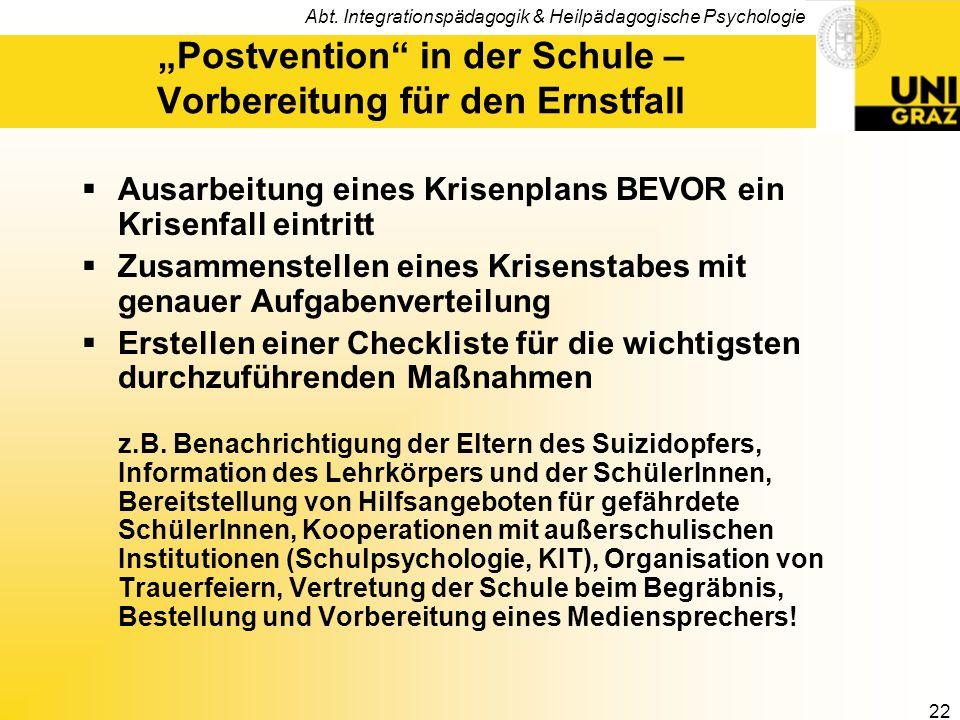 """""""Postvention in der Schule – Vorbereitung für den Ernstfall"""