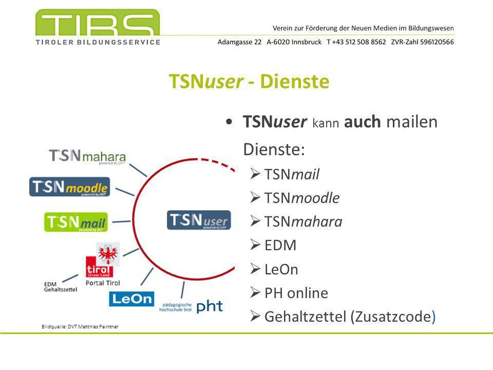TSNuser - Dienste TSNuser kann auch mailen Dienste: TSNmail TSNmoodle