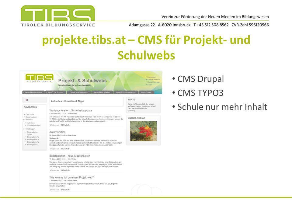 projekte.tibs.at – CMS für Projekt- und Schulwebs