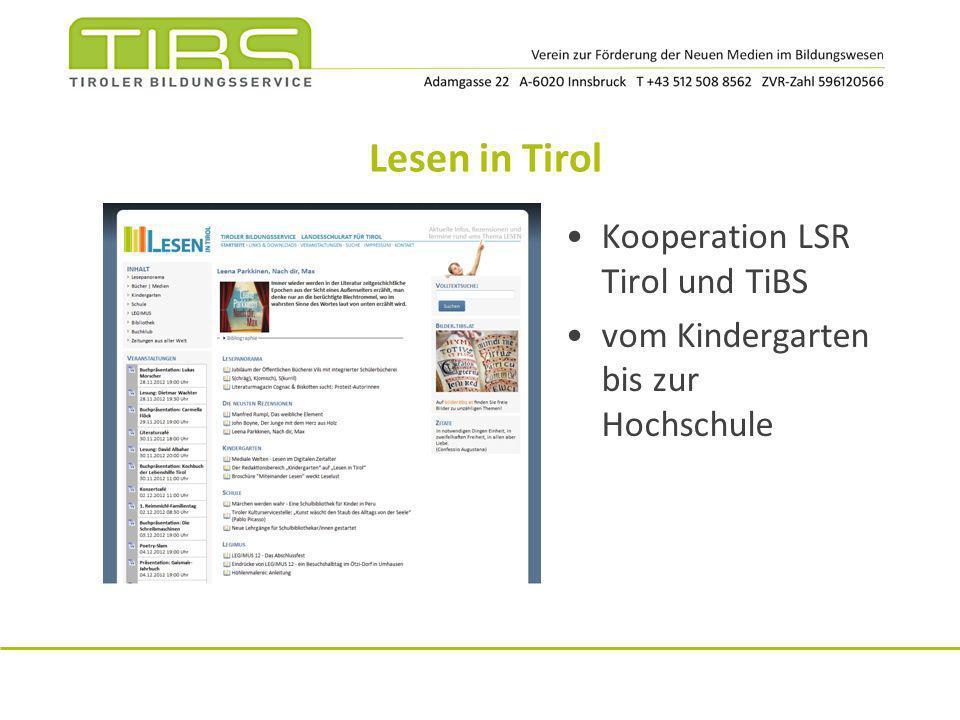 Lesen in Tirol Kooperation LSR Tirol und TiBS