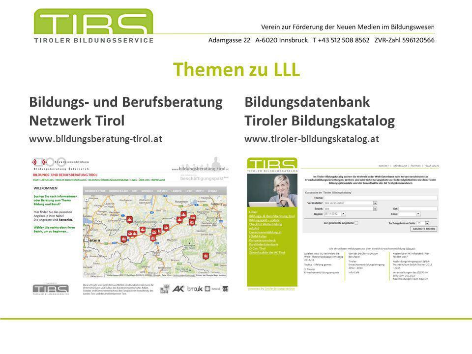 Themen zu LLL Bildungs- und Berufsberatung Netzwerk Tirol
