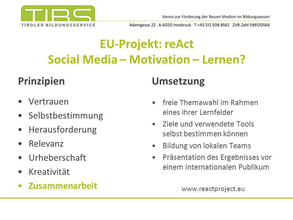 EU-Projekt: reAct Social Media – Motivation – Lernen