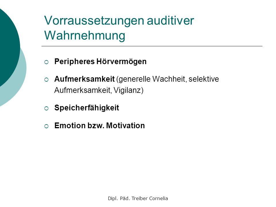 Vorraussetzungen auditiver Wahrnehmung