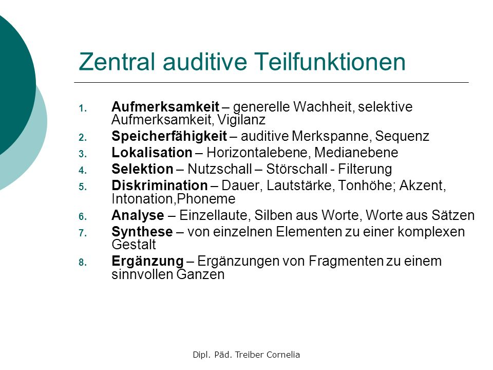 Zentral auditive Teilfunktionen