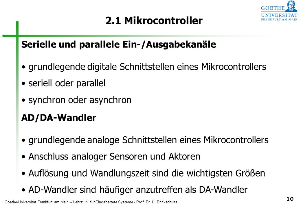 2.1 Mikrocontroller Serielle und parallele Ein-/Ausgabekanäle