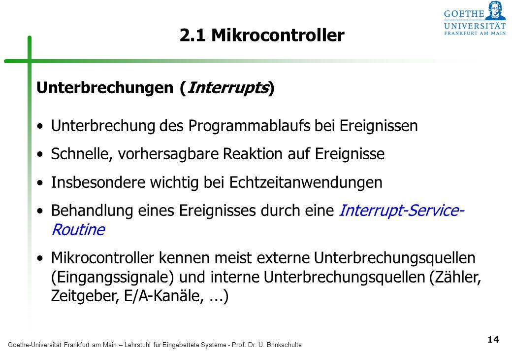2.1 Mikrocontroller Unterbrechungen (Interrupts)