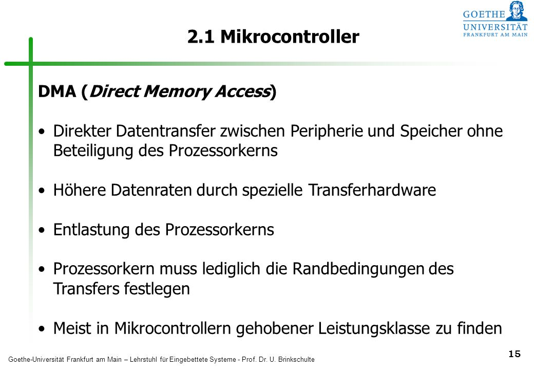 2.1 Mikrocontroller DMA (Direct Memory Access)