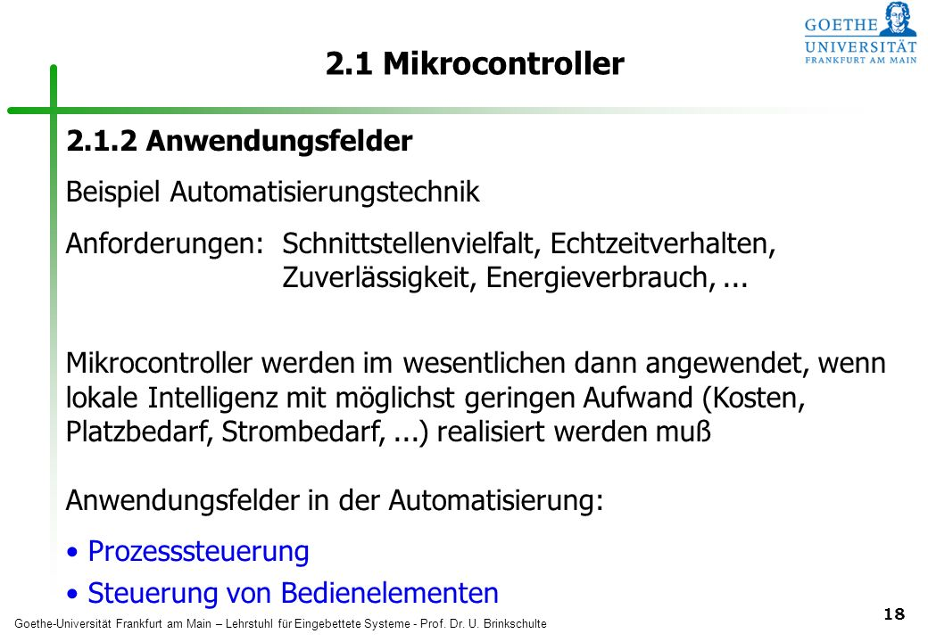 2.1 Mikrocontroller 2.1.2 Anwendungsfelder